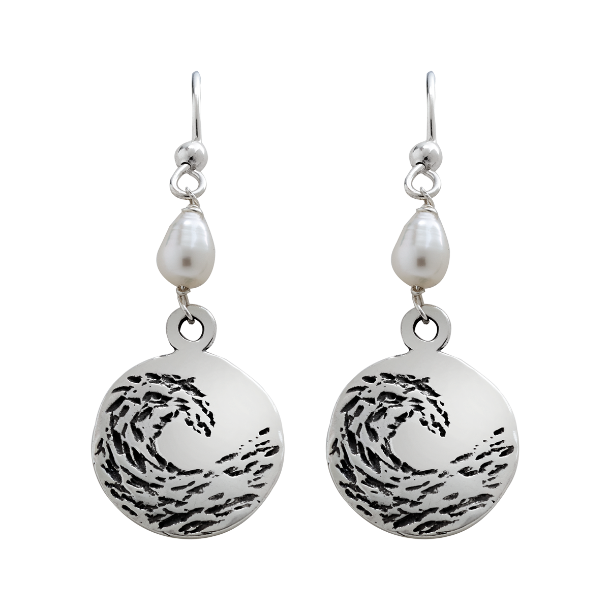 Sterling Silver Circle With Pearls And Patina Earrings