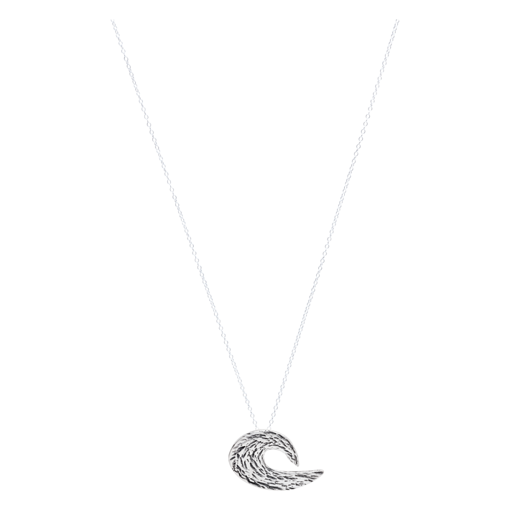 Sterling silver cut out wave on a sterling silver chain with patina sterling silver mozeypictures Image collections